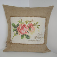 Vintage Roses Shabby Chic Burlap Canvas Pillow Cushion Cover 16&quot;