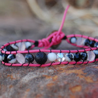 Pink Leather Zebra Stone Wrapped Bracelet, Swarovski Crystals, Black Lava, and Rose Quartz Coins