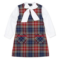 Oscar de la Renta Cotton Bow-Detail Blouse & Plaid A-Line Dress