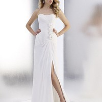 A-Line Strapless Floor-Length Gown with Chiffon Style T555 : $176.00 at VikiDress.com.