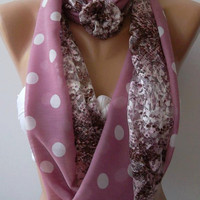 Elegant Pink  - Lace and fabric/ -Infinity /Shawl/Scarf