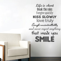 Quote wall decal - Life is Short, Smile Quote - Wall Decals , Home WallArt Decals