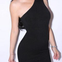 Bqueen  Little Black One Shoulder Dress TD036H