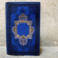Ornate Blue Wedding Guestbook made from antique French book with illustrations