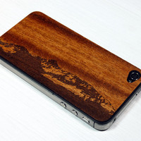 Rocky Mountain Etching on Real Wood iPhone Skin Sticker