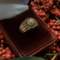 Cultured Pearl and Genuine Diamond 14k Yellow Gold Wide-band Ring