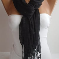 Soft tulle black Shawl / Scarf - Headband -seamless fabric yarn edge