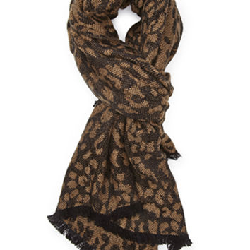 FOREVER 21 Leopard Print Scarf Black/Tan One
