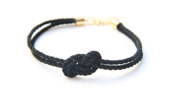 Small Black silk Knot Bracelet - 24k gold plated