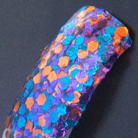 Cameo Appearance: hand mixed glitter nail polish purple, blue orange Full size .5 oz.