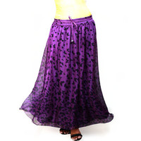 Autumn Butterfly  Print Purple Chiffon Maxi Skirt - Ready to Ship
