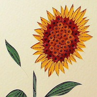 Quilled Sunflower handcrafted in New Hampshire original framed wall art lovely
