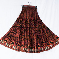 Animal print ruffled maxi skirt, Carole Little earth tones ethnic tribal / crinkle rayon / elastic waist / size small / Made in USA