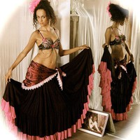 Belly dance Costume set ISABELLA - black and hot pink Burlesque style bra with Gypsy style velvet Shawl belt and full skirt