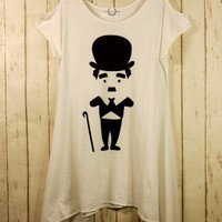 Charlie Chaplin Print Drape T-shirt - Retro, Indie and Unique Fashion