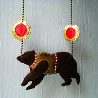 Felt & Fake Leather Necklace - Circus Bear in Brown, Gold and Red