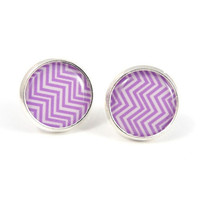 Chevron Earrings - Purple and White Chevron Silver Earring Studs - Zig Zag Geometry Jewelry Angular Free Shipping