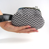 Frame Purse with strap- Black chevron side lock pouch