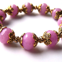 Pink Jade Bracelet, Gemstones, Stretch Bracelet, Lilac Pink Jade, Gold, Ooak, Romantic, Wedding, Bridesmaid Gift