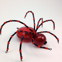 Spider Pendant - Giant Spidey - Red &amp; Black Bead and Wire Pendant