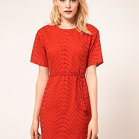 French Connection Shift Dress With Embroidered Spot at asos.com