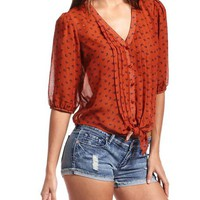 Tie-Front Printed Blouse: Charlotte Russe