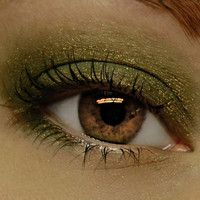 Olive Green Eyeshadow . GAIA Mineral Eye Shadow . Metallic Olive Green Mineral Pigment - Goddess Collection - Large 10 gram Jar