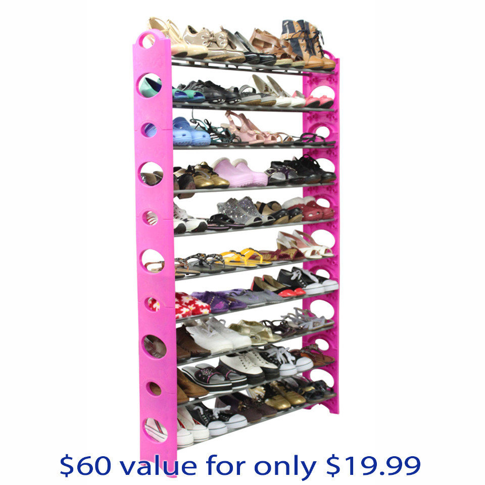 Home Basics 50 Pair Shoe Rack In Pink - Beyond the Rack