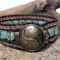 Copper Surprise, Leather Cuff Bracelet, Beaded Cuff Bracelet, Chan Luu Inspired, PZW068