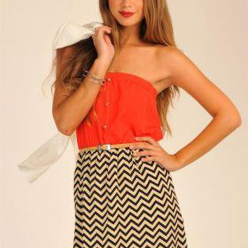 Two Tone Zig Zag Print Strapless Dress with Button Front