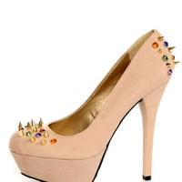 Dollhouse Gemini Nude Bejeweled and Spiked Platform Heels
