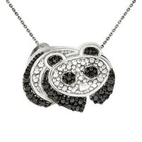 Sterling Silver Diamond Accent Panda Necklace - Black