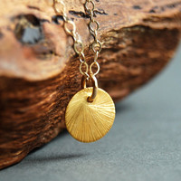 Hilo necklace - brushed gold disc necklace, minimal, simple, modern, everyday necklace, maui, hawaii