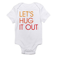 Let's Hug It Out - Custom 100% Cotton Jersey Knit Baby Bodysuit - FREE SHIPPING