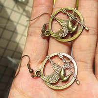 The Hunger Games pendant ,Inspired Mockingjay earrings-antique brass/silver, you can choose