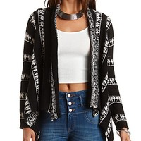 Striped Fringe Cardigan Sweater by Charlotte Russe - Black Combo