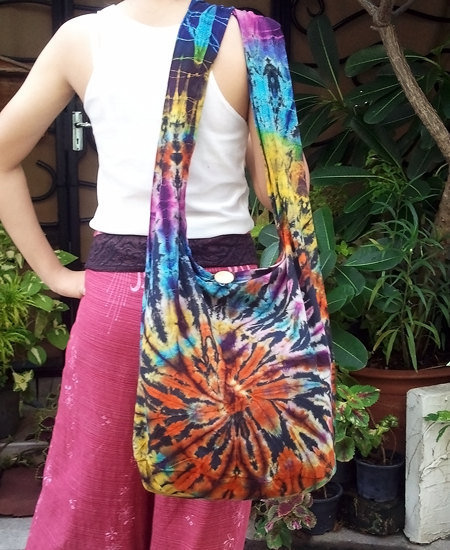 FREE SHIPPING - Handmade Tie Dye Hobo bag Shoulder bag Cross-body - cotton fabric - ready to ship -
