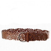 Brown Wide PU Cut Out Belt