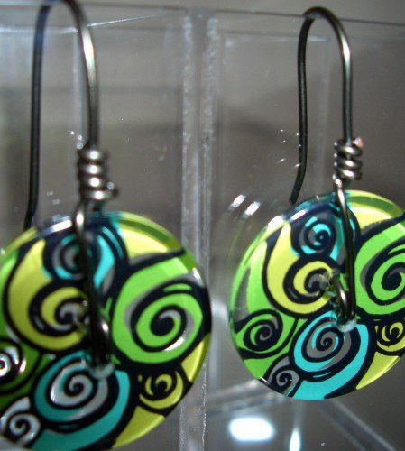 Button and Wire Earrings