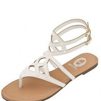 WHITE STUDDED STRAP FLAT SANDALS @ KiwiLook fashion