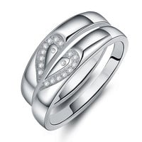 Gullei Trustmart : Swiss diamond matching hearts pair of wedding rings [GTMCR0049] - $35.00 - Couple Gifts, Cool USB Drives, Stylish iPad/iPod/iPhone Cases & Home Decor Ideas