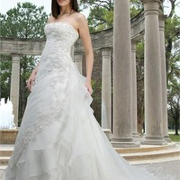 A-line strapless sweep train Embroidery with Organza wedding dress WD2134