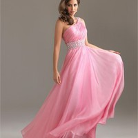 One-shoulder a-line beaded sash tulle pink Prom Dresses 2012 PDM350