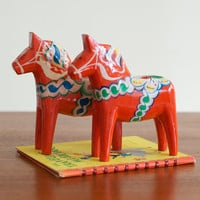 "SALE... Vintage Wooden 7"" Dala Horses - Set of 2"