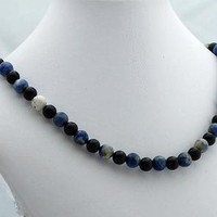 Variegated Sodalite and Black Onyx Necklace Handmade One of a Kind by ExoticTreasuresJewelry