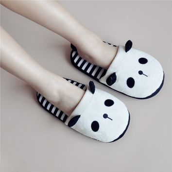 Women's Panda Pattern White Indoor Slipper in Stripes