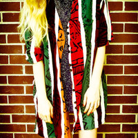 Vintage Tribal Red Green Orange Brown Black Striped Button Up Oversized Cardigan Robe