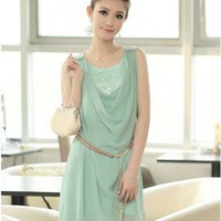 Women Chiffon Round Neck Sleeveless And Beads Shoulder Blue Dress With Belt S/M/L @MFLA2251bl - $33.86 : DressLoves.com.