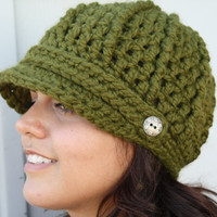 Crochet Newsboy Hat- Olive Green