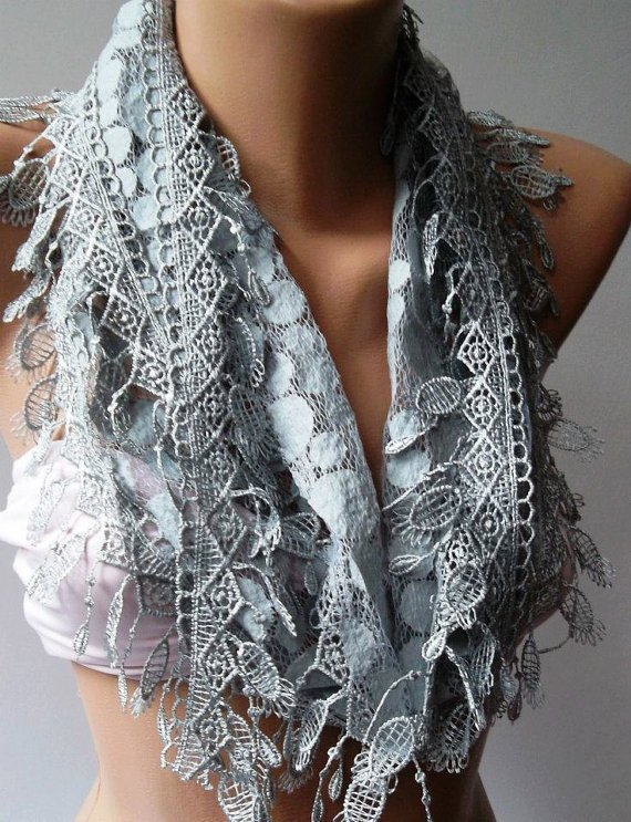 Grey - Elegance  Shawl / Scarf with Lacy Edge-